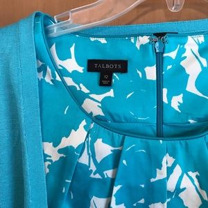 Talbots turquoise floral fit and flare dress sz 12